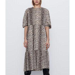 Zara Leopard Print Tiered Puff Sleeve Midi Dress